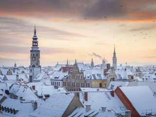 Goerlitz Winter DaecherAltstadt