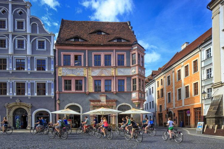 Goerlitz Untermarkt Radfahrer Rainer Weisflog