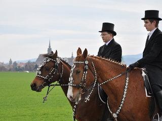 festlich gekleidete sorbische Osterreiter in Bautzen
