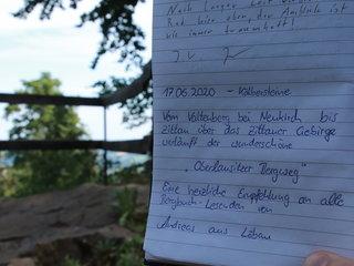 Gipfelbucheintrag auf den Kaelbersteinen