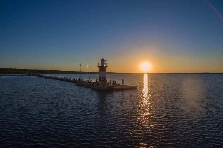 Sonnenuntergang am Baerwalder See Boxberg OL Hafen Klitten DRK Wasserwacht Chemnitz
